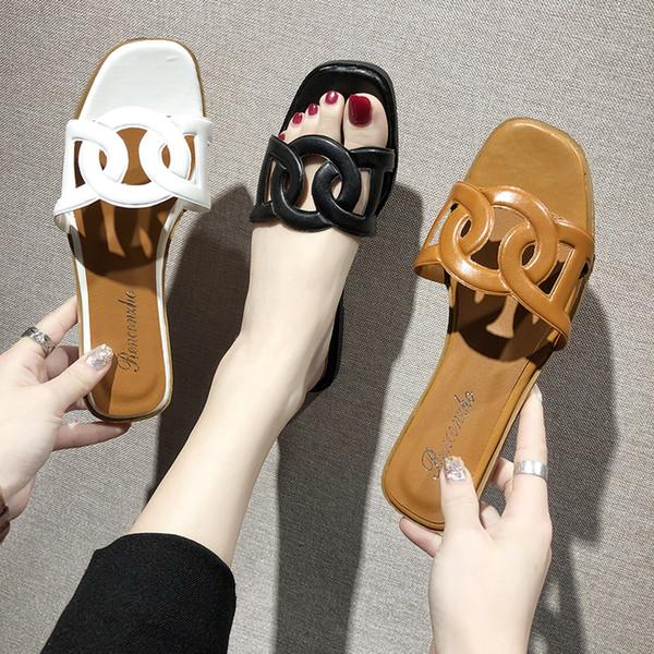 Verão 2019 moda Casa Chinelos sapatos mulher slides toe clássico pureza cores apartamentos zapatillas mujer