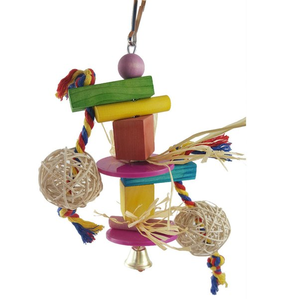 Colour Solid Wood Parrot Gnaw Toys Colour Wood Sepaktakraw Straw String Group Hair