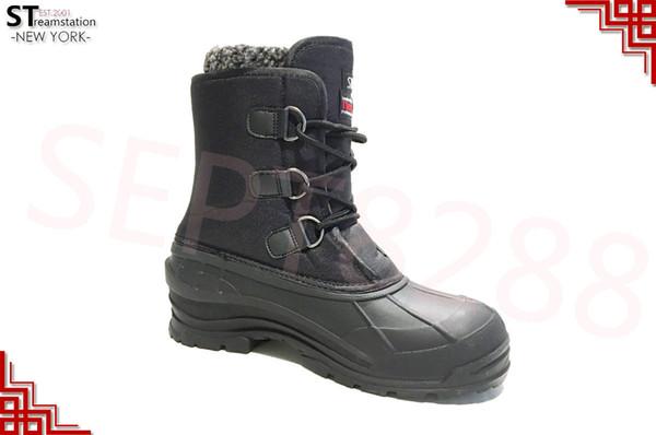 Botas de neve de inverno preto dos homens sapatos Warm forrado Thermolite impermeável 10
