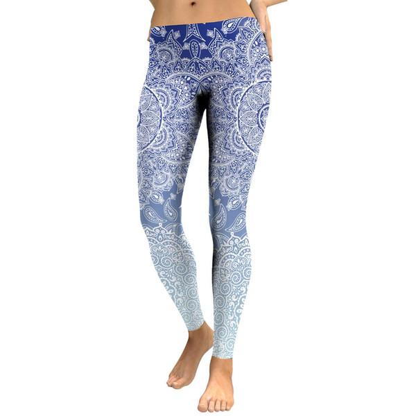 Spring Fading royal blue tight Mandala leggings Skinny girls gym running pants factory sales Free drop shipping