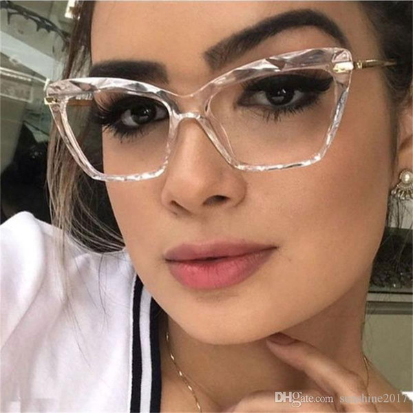 top popular 2020 New Cat Eye Transparent Women's Glasses Spectacles Clear Frame Female Eyeglass Frame Fashion Myopia Nerd Glasses Lens 2021