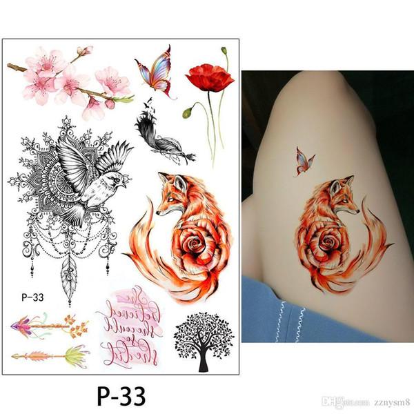 Mode Pfingstrose Blume Tattoo sexy wasserdicht 1 Blatt temporäre Tätowierung Aufkleber Pflaumenblüte Design DIY Arm Körper Bikini Dekoration