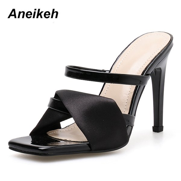 Aneikeh 2019 Summer New Ladies Slippers Fashion Sexy Square Head Satin Open Toe Strap With Stiletto High Heel Ladies Slippers