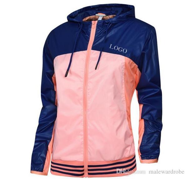Frauen-Windbreaker-Sport-Marken-Jacken-Herbst-Frühlings-Farben entwerfen mit Kapuze Reißverschluss athletische Jacke