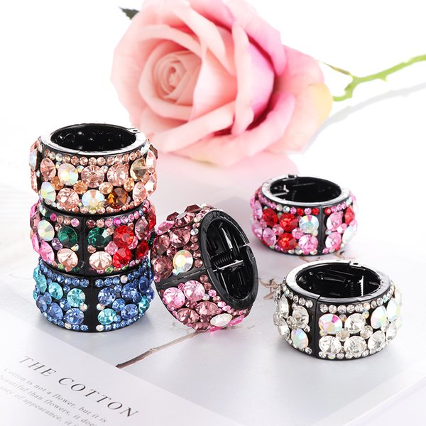 Fashion Hair Clips for Hair Plastic Crystal Gum for Ponytail Ring Buckle Holder Women Accessories Hairpin