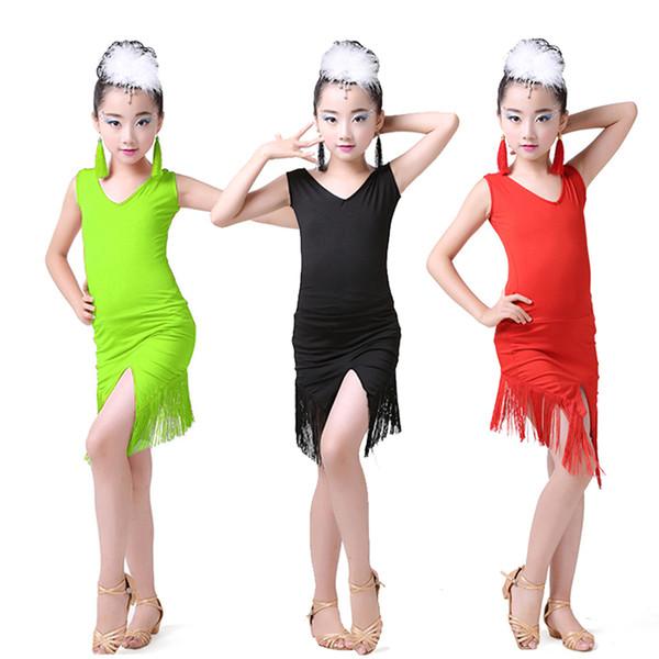 Costume de danse latine robe enfants pratique professionnelle filles costume de danse latine professionnel robe enfants frange DQL1025