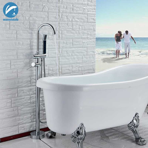 best selling Chrome Polish Bathtub Shower Faucet Floor Standing Bath Tub Spout Shower Dual Handle Mixer Tap Bathroom Faucet Mixer Tap