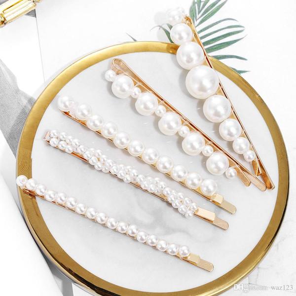 4PCS / Set dei capelli delle donne di modo della perla della clip pettine perno Barrette tornante copricapo dei capelli strumenti per lo styling della clip accessori T1
