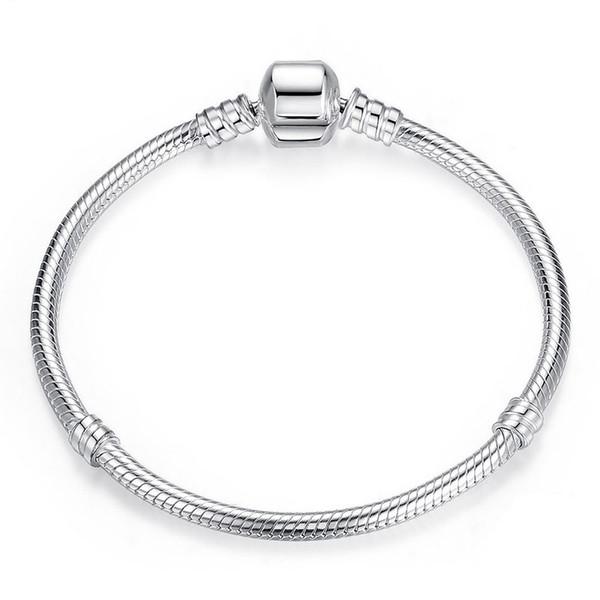 (In stock)Factory Wholesale 925 Sterling Silver Bracelets 3mm Snake Chain Fit Pandora Charm Bead Bangle Bracelet Jewelry Gift For Men Women