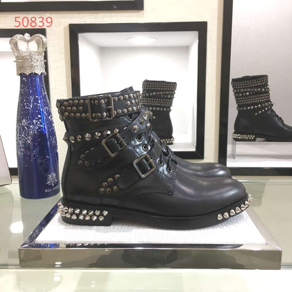Luxury brand new style women flat short boots genuine leather with cool rivet fashionable buckle best quality women shoes 34-40