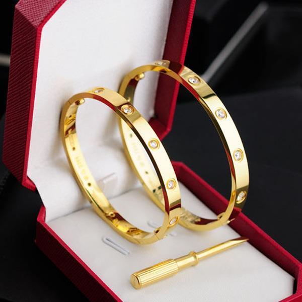 Bracelet jonc à vis en acier titane avec bracelet neuf en or 18 carats Rose 316L Titane, avec tournevis et boîte d'origine, ne se rouille ni ne se fane