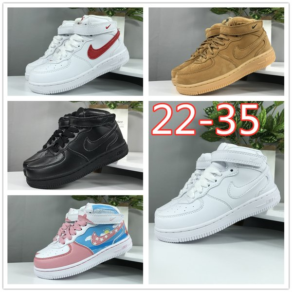 top popular 2019 AF1 Kids youth shoes Force 1 Boy Girls Big Baby forces one Running shoes Toddler Children low casual Trainers Size 22-35 2020