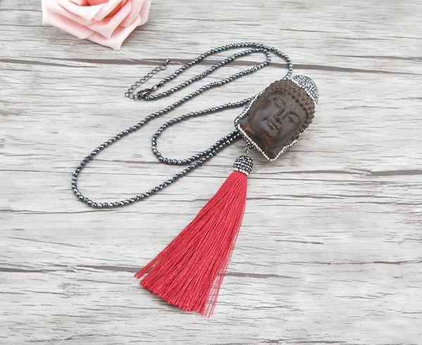 4 stücke Hämatit perlen Ketten halskette, holz Maitreya Buddha Kopf quasten Anhänger Schmuck halsketten Für frauen NK306