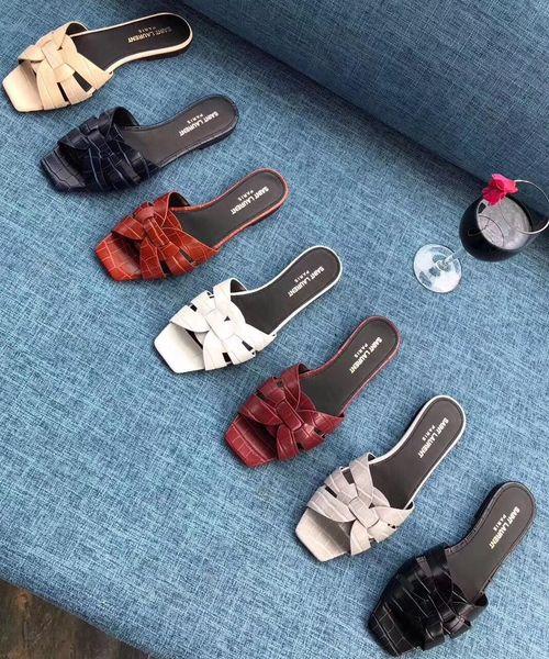 Avec la boîte! Femme Sandales Chaussons de haute qualité Y Marque Sandales Chaussures plates Chaussures Slide Design Casual chaussures Tongs Taille: Femme 08 pour 35-40