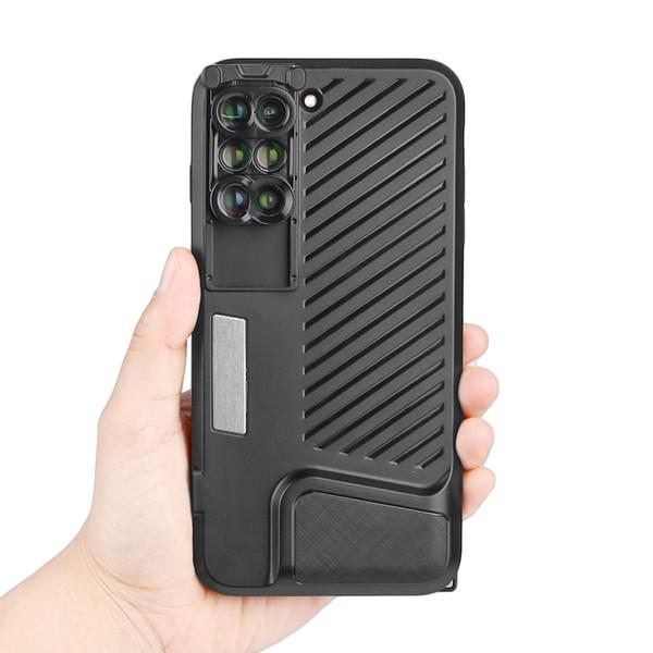 Et 6 In 1 Phone Lens For Iphone 7/8 Plus Dual Camera Lenses W/ Fisheye Telephoto Wide-angle Macro & Macro Phone Case Cover J190704