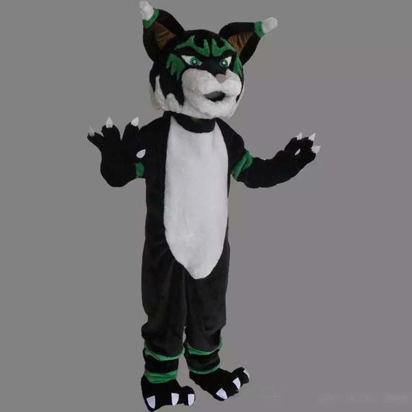 Acheter Personnalisé Professionnel Costume De Mascotte Bobcat Dessin Animé Personnage De Chat Animal Sauvage Chat Noir Vêtements Halloween Festival