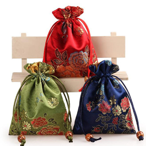 Chinese Silk Embroider Gift Pouch 11x14cm Jewelry Pouch Mixed Nobility Wedding Candy Bag Christmas Party Favors Gift Bag QW9966