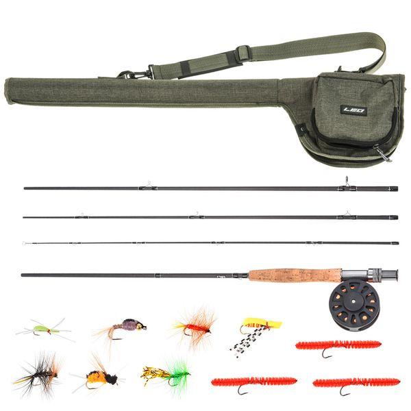 Canne à pêche à la mouche de 9 'et moulinet combo avec sac de transport 10 mouches leurres de pêche mouches cannes à pêche pour la carpe