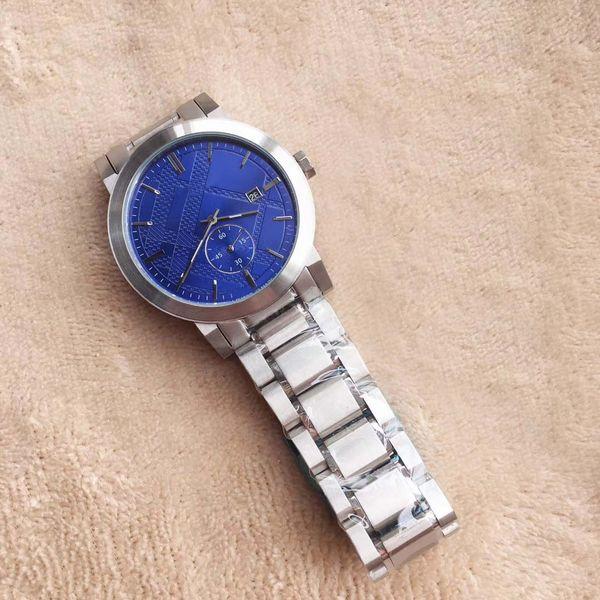 New Desigh 42MM Dress Mens Watches Quartz Battery Chronograph Date Men Watch Blue Dial Stainless Steel Bracelet
