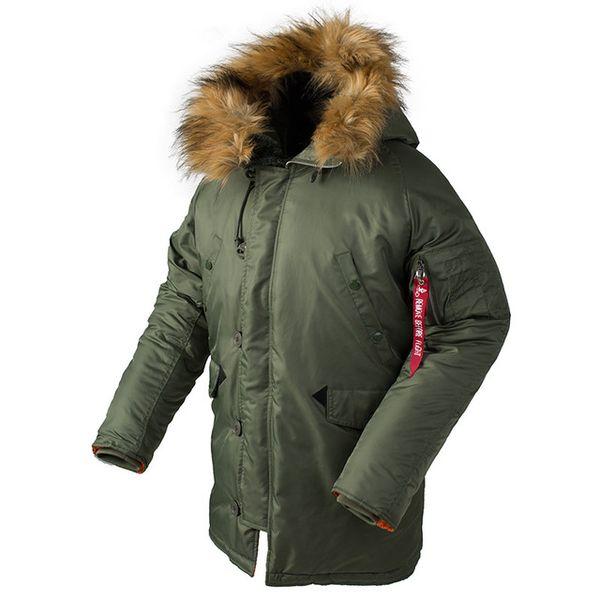 N-3B veste hommes longue canada manteau de fourrure capuche chaude trench camouflage tactique bombardier armée parka coréenne
