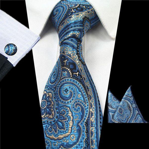 Moda Uomo Cravatte blu scuro stampato cravatta Business Casual poliestere cravatta di seta formale Tie gemello fazzoletto Imposta floreali classici della cravatta