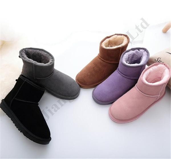 Zapatos Australia UG tobillo cargadores de la nieve clásico mujeres de la marca de los hombres de invierno para niños muchachas del muchacho de gamuza botas cortas de cuero caliente paño grueso y suave de arranque de EE.UU. 3-14 C102206