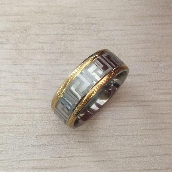 Nlm99 2017 neue Art und Weise europäische USA Super Deal Ring Männer Edelstahl Gold-Silber-griechischer Schlüssel Ringe Paar Ringe Verschiffen