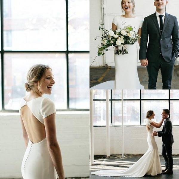 Simple marfil sirena vestidos de novia 2019 espalda hueca manga corta barrido tren llano país jardín playa vestidos de novia vestido de novia