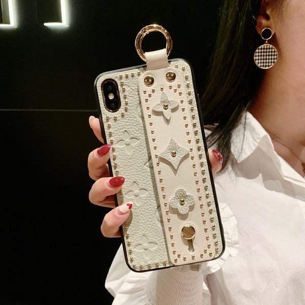 iphone 7 8 6s için artı iphone 11 pro X Xs max XR Vintage Çiçek Desen Tutucu için Moda Pop Avrupa ve Amerika Bilek Kayışı Yumuşak TPU Telefon