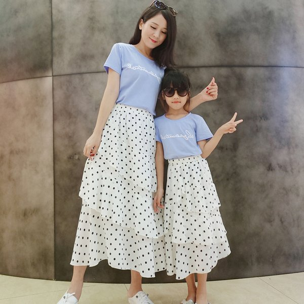2019 New Polka Dot Skirt Mother Daughter Matching Outfits Summer Skirts T Shirts Elegant Skirts Top Shirts Puprle Blue Tees