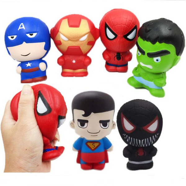 Squishy Spider Man Slow Rising Cartoon Avengers Marvel Heros Captain America Charm The Hulk Toys Superhero Squishy Toy for kids 2019