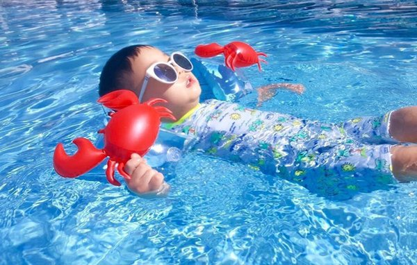 Kids Inflatable arm band cartoon swimming armlet flamingo Crab Baby swim rings safty assistive tools Inflatable Float Swim Arm Ring