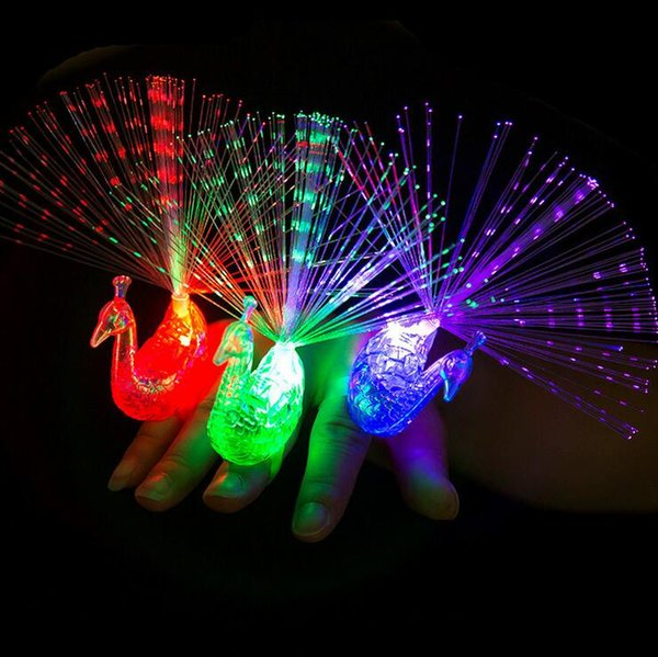 Color changing section peacock finger lamp peacock open screen fiber-optic lamp flash creative luminous ring children toy wholesale