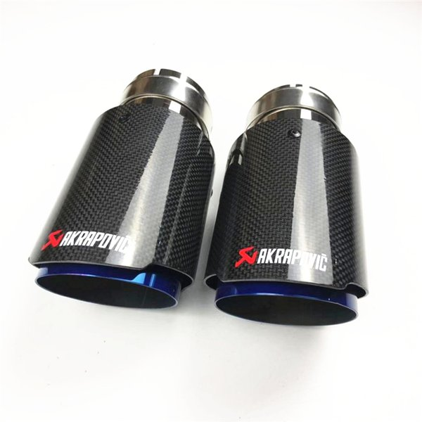 best selling Blue Stainless Steel For Universal Akrapovic Exhaust End Tips Auto Muffler Carbon Car Cover Styling(2pcs)