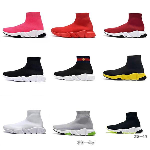 Nueva Arrivlas diseñadores corredores deportes ocasionales de las zapatillas de deporte de moda para mujer Luxurys Para Hombres Speed Trainer fuera Negro Blanco Rojo calcetín Zapatos S04