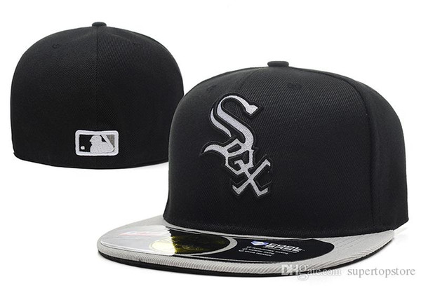 Men's White Sox Classic Baseball fitted Hats Sport Letter sox logo Embroidery on field black color full closed Caps fashion cheap