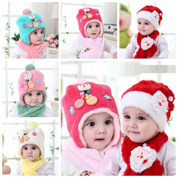 Baby Weihnachtsmützen Schal Set Plüsch Weihnachtsmann Mütze Weihnachtsdekoration Jungen Mädchen niedlichen Hut Schals Anzug Ohrenschützer AAA1446