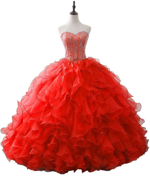 2019 New Fashion Crystal Beading Ball Gown Quinceanera Dresses Organza Plus Size Sweet 16 Dresses Debutante 15 Year Formal Party Dress BQ166
