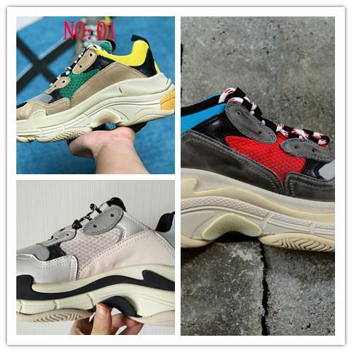 2019Multi Luxo Triplo S Designer Low Old Pai Sneaker Combinação Solas Botas Mens Moda Feminina Sapatos Casuais Alta Qualidade Superior Tamanho 36-45