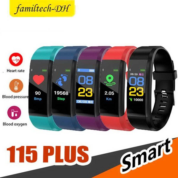 ID115 Plus Smart Bracelet Fitness Tracker Smart Watch Heart Rate Men Watchband Smart Wristband For Apple Android Cellphones with Box
