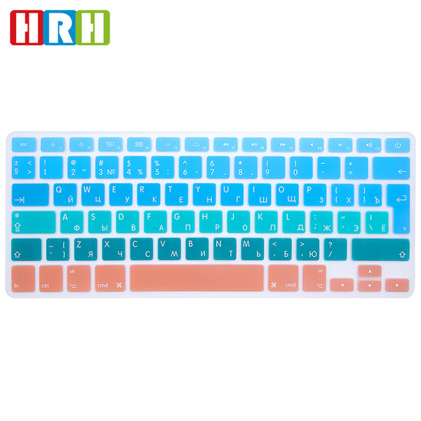 HRH Silicone EU/UK Russian Gradient Rainbow Keyboard Cover Keypad Skin Protector for MacBook Air Pro Retina 13 15 17 Before 2016