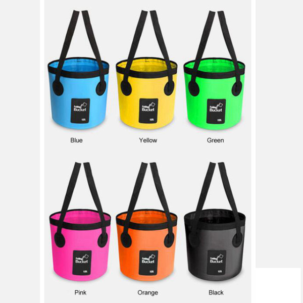 best selling 6 Colors Outdoor Folding Fishing Bucket Collapsible Bag Waterproof Water Barrel Camping Tools Clip Net Material ZZA300