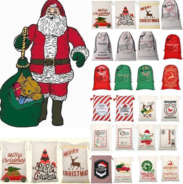 La bolsa de lazo monogramable de Santa Claus de la lona más nueva de la Navidad con los renos, bolsos de la Navidad de Monogramable regalos saco bolsos 4549
