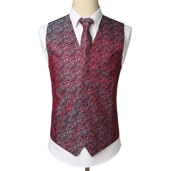 Vinho Vermelho Paisley Tuxedo Colete Set Partido Casamento Colete Colete Lenço Gravata Jacquard Floral Bolso Quadrado Terno Conjunto