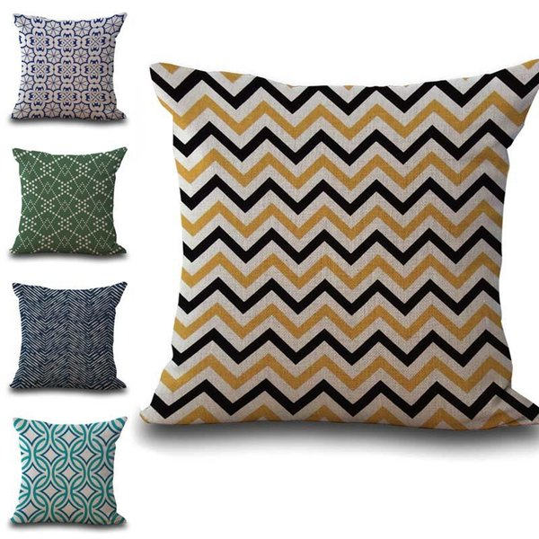 Wave Diamond Geometric pattern Pillow Case Cushion cover linen cotton Throw Square Pillowcase Cover Drop Ship 300779