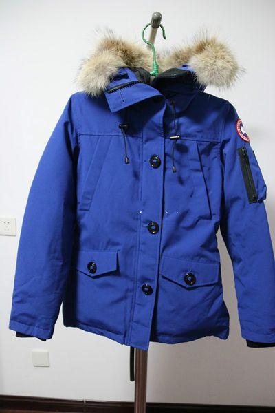 Women Parkas WINTER CANADA MONTEBELLO1 Down & Parkas WITH HOOD/Snowdome jacket Real wolf Collar White Duck/GOOSE Outerwear & Coats