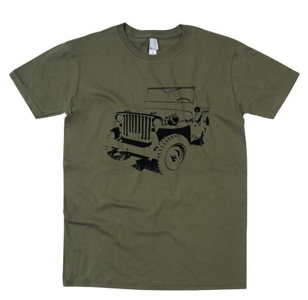 Vente en gros Ww2 armée véhicule 4x4 Gamer T Shirt rétro conception originale vente chaude 2019 nouvelle marque de mode ras du cou hommes t-shirts