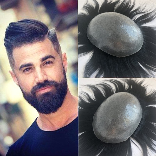 Thin Skin Mens Toupee Full Pu Base Toupee For Men Replacement System Hand Tied Hairpieces Black Straight Pu Human Hair Men Wig