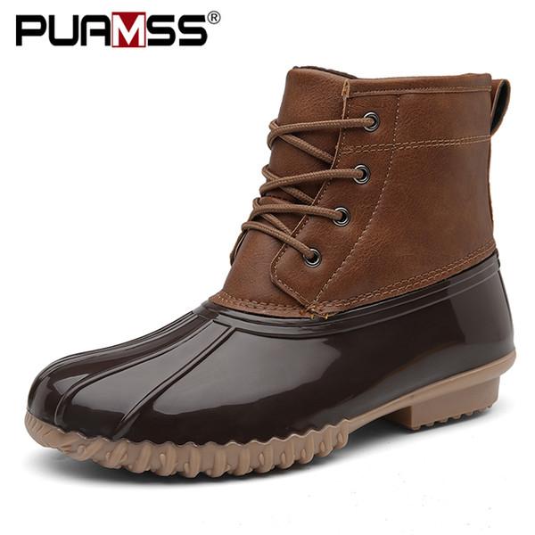 Botas de mujer botas de pato con cremallera impermeable suela de goma Botas de lluvia botas de encaje hasta el tobillo zapatos de piel de invierno