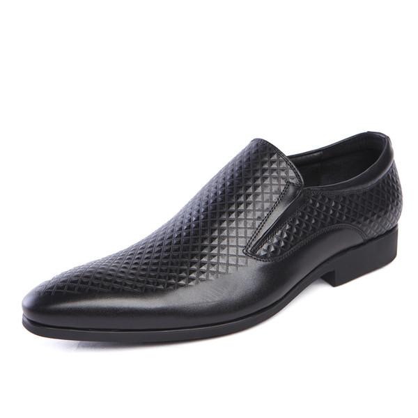 bajo precio b16af 494d3 Compre Hombres De Cuero De Vaca Genuino Clásico Oxford Zapatos De Vestir  Con Cordones Hombre Zapatos De Boda De Rayas Patrón Masculino En Punta JS  ...